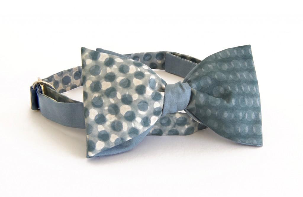 Emma Noble blue dot bow tie