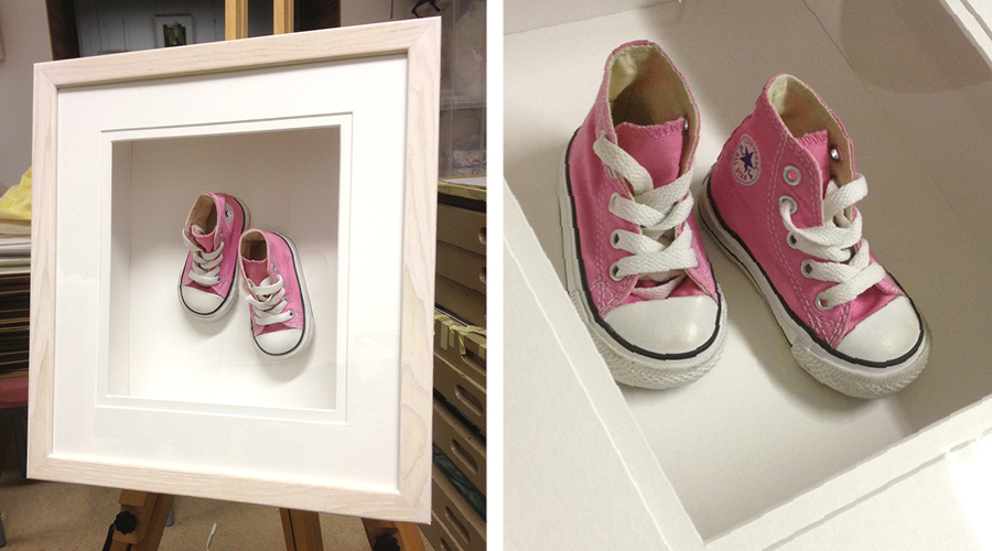 object framing box baby shoes