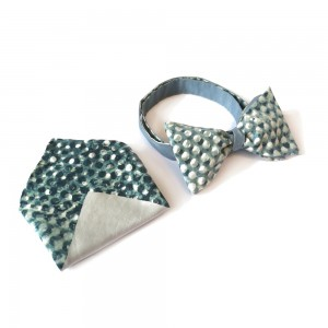 Silver dot bow tie and pocket square