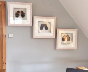 box frame baby shoes x 3